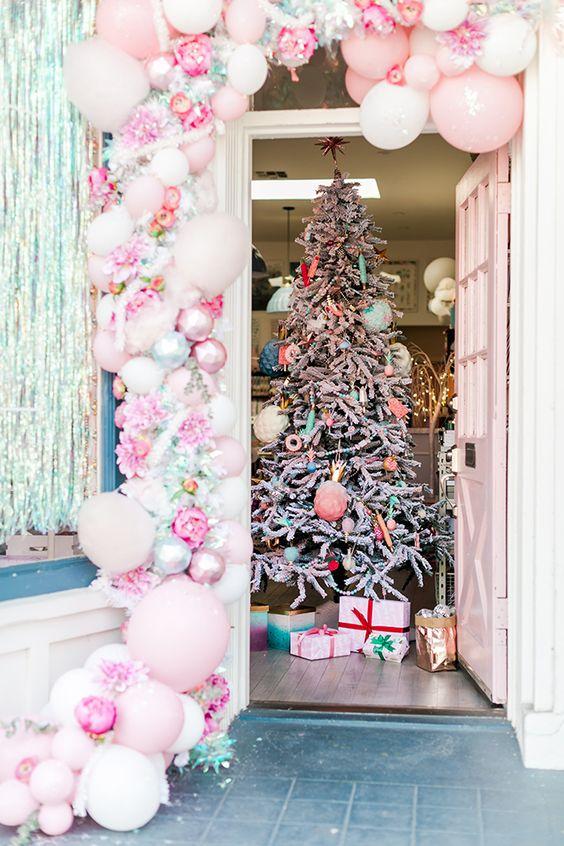 Decoración con globos para navidad