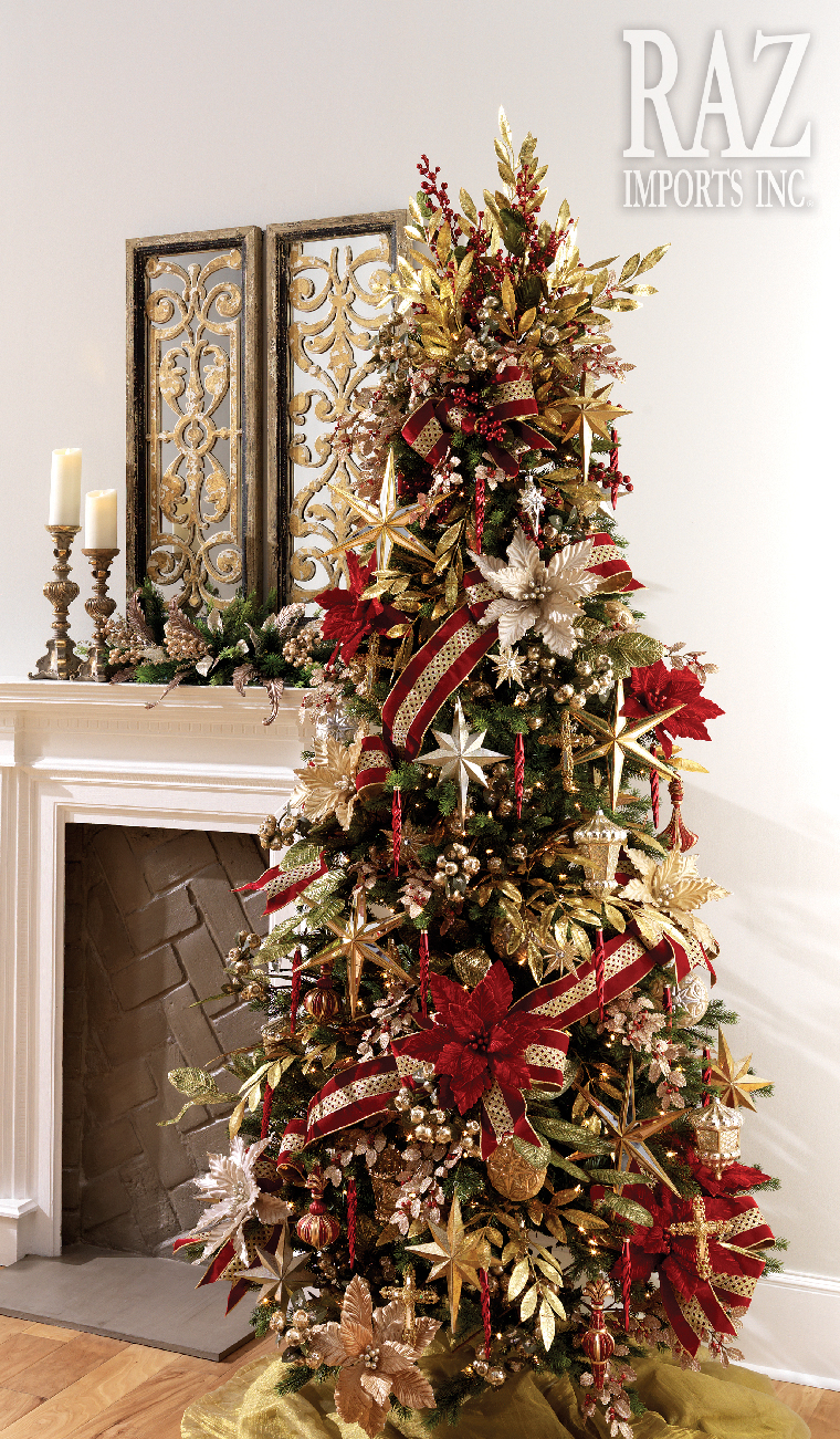Ideas de decoración de arboles de navidad 2018 - 2019 dorado