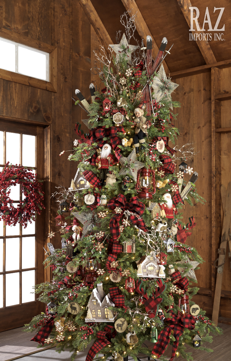 Pinos navideños estilo rústico
