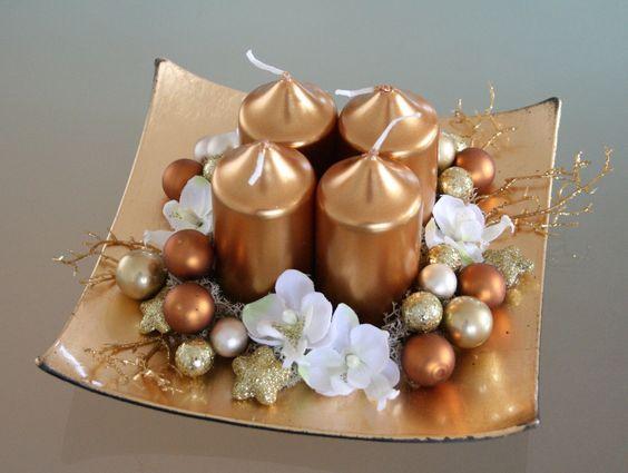 Centros de mesa navidenos en color dorado (12)