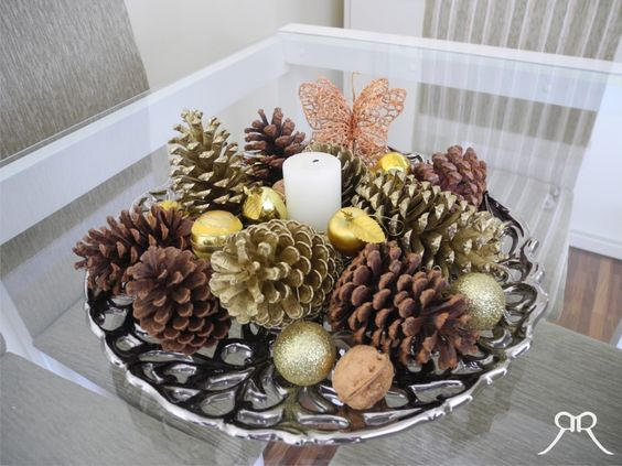 Centros de mesa navidenos en color dorado (13)