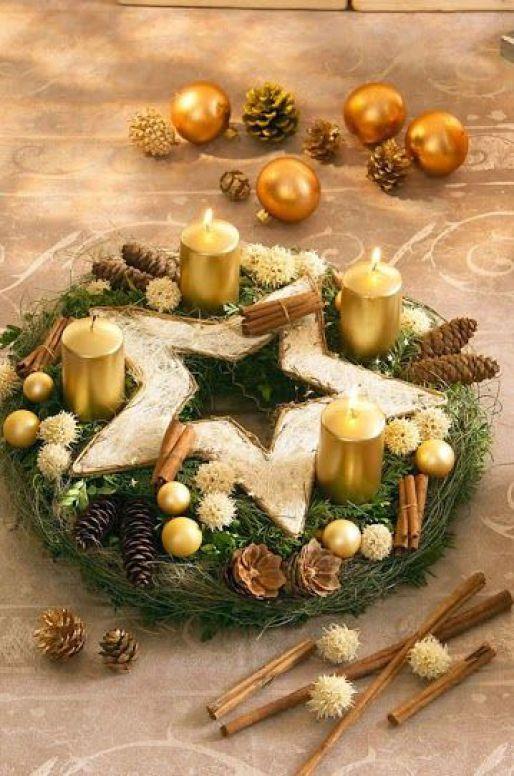 Centros de mesa navidenos en color dorado (2)