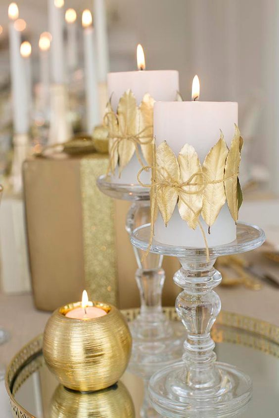Centros de mesa navidenos en color dorado (4)