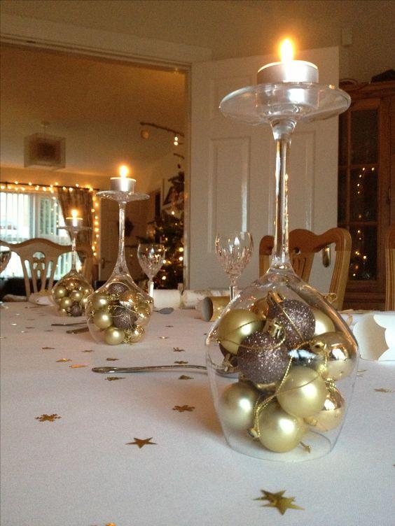 Centros de mesa navidenos en color dorado (6)