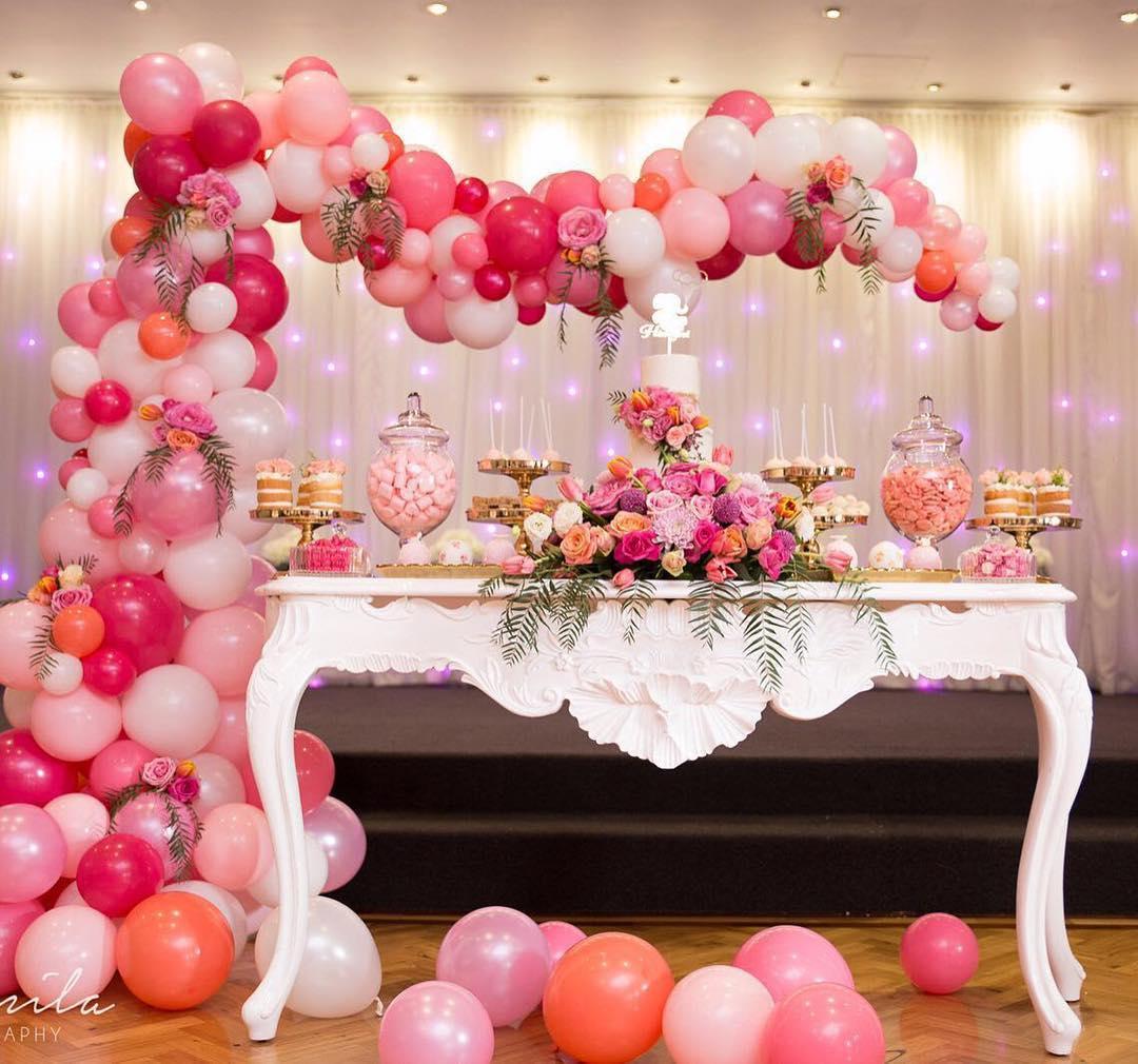 Mesas de postres decoradas con globos