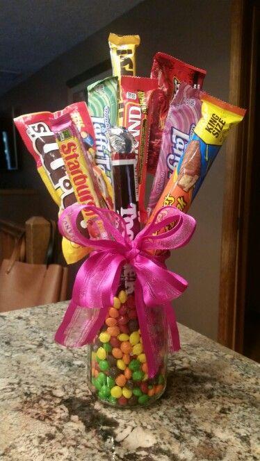 bouquet de dulces en tarro