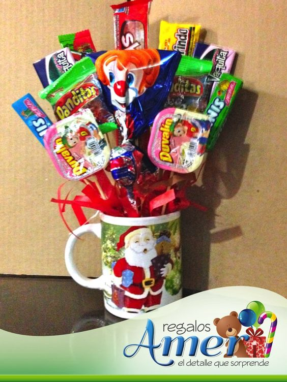 bouquet de dulces en taza para navidad