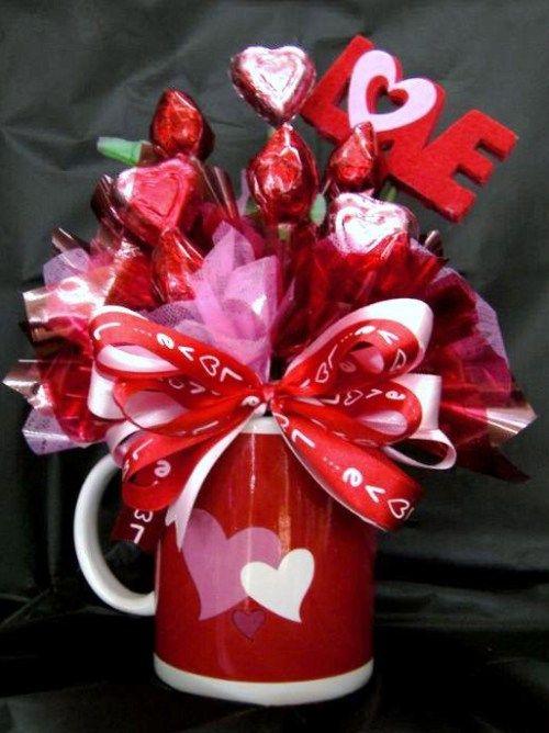 Bouquet de dulces en taza o tarro