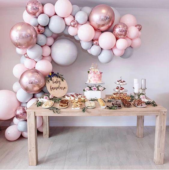 Ideas para baby shower niña con globos