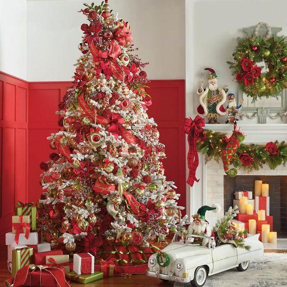 arboles de navidad 2019 - 2020 con detalles en rojo