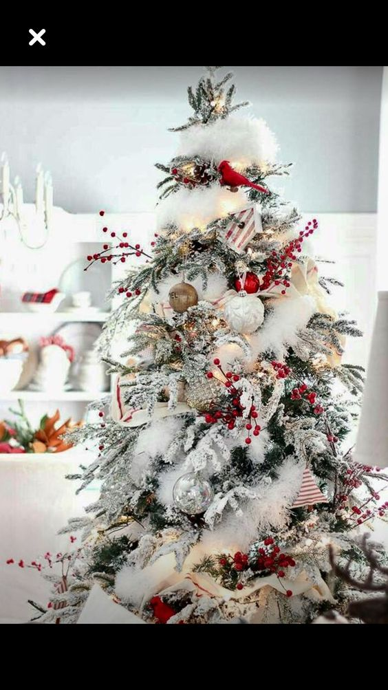 arboles de navidad nevados con decoraciones rojas