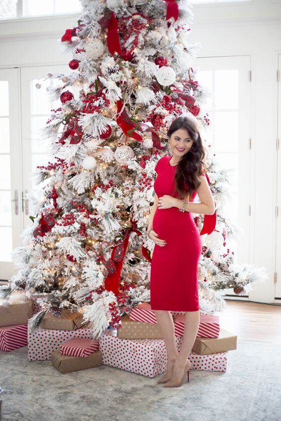 decoracion de arbol de navidad blanco con rojo