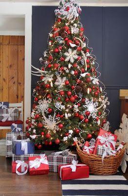 decoracion de arboles de navidad modernos color rojo