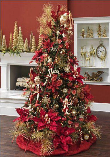 los mejores arboles de navidad decorados con rojo y dorado