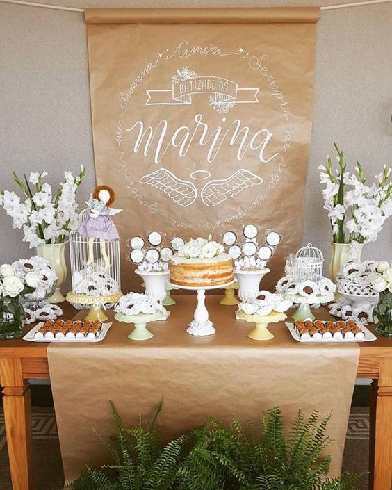 mesa de dulces para bautizo niña