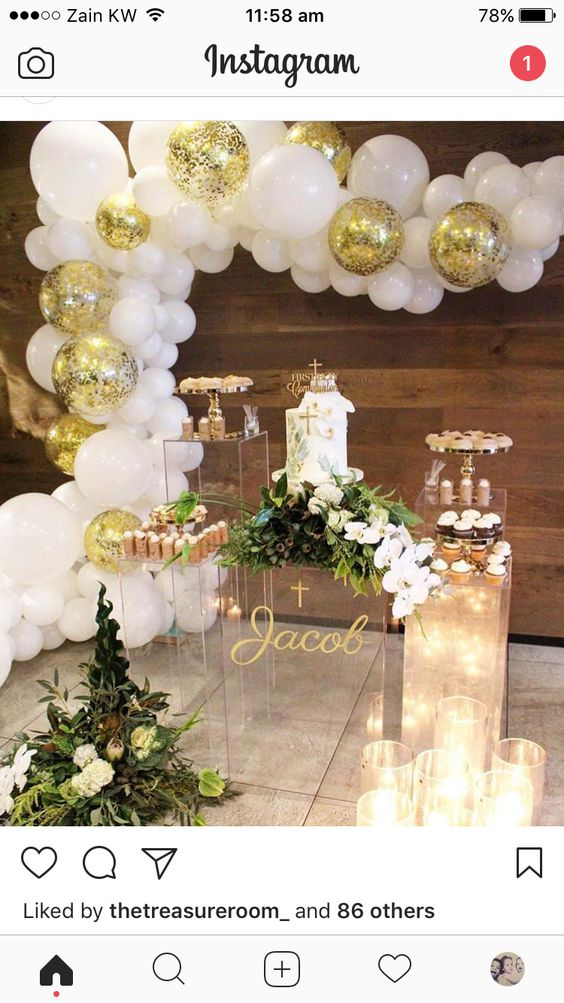 mesa de dulces para primera comunion
