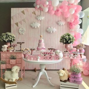 baby shower decorado con flores