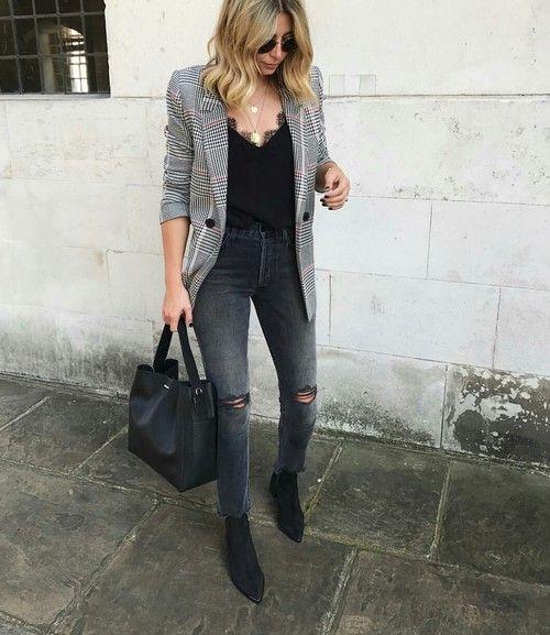 Como Combinar Blazer con Jeans con botas