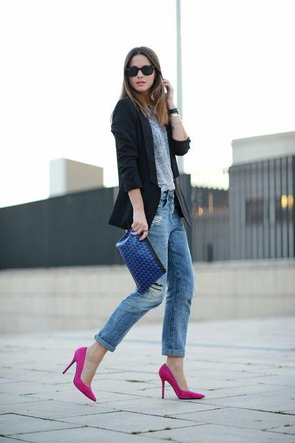 Como Combinar Blazer con Jeans con zapatos altos