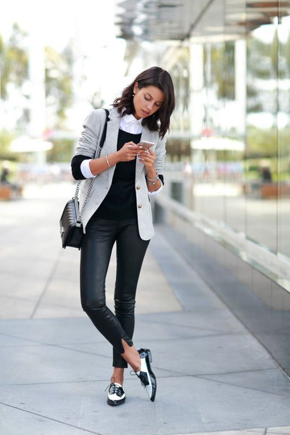 Como Combinar Blazer con Jeans y zapato flat