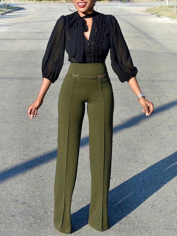 Pantalones de moda mujer 2019 verdes