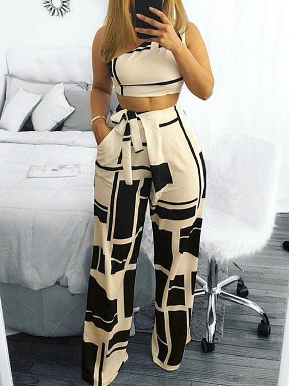 Pantalones de vestir de moda para mujer estampados