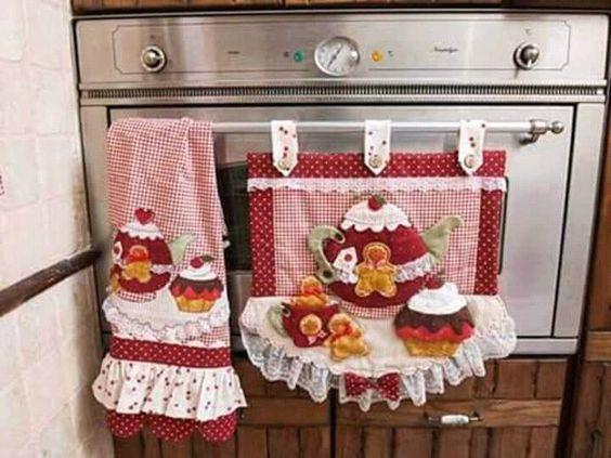 Tapetes de tela para decorar la puerta del horno en la estufa