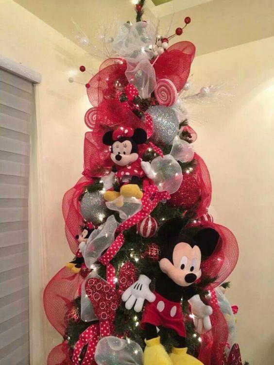 arbol navideño de mickey mouse con listones