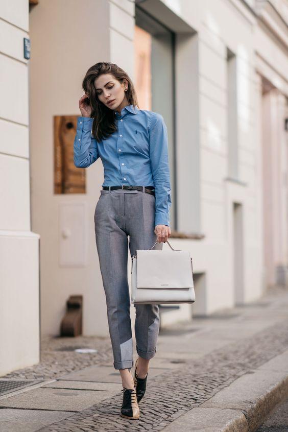 blusas para oficina color azul