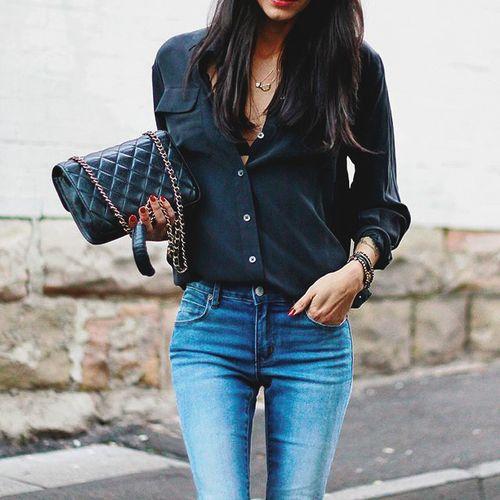blusas para oficina en color negro