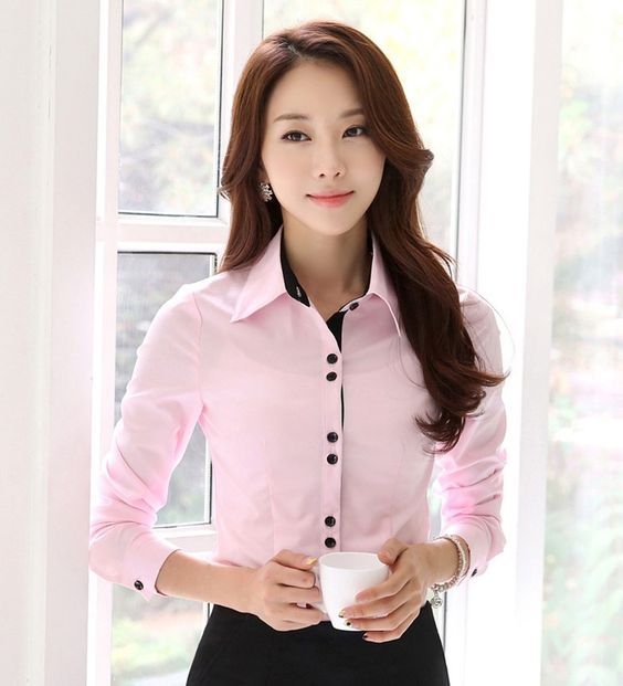 blusas para oficina manga larga