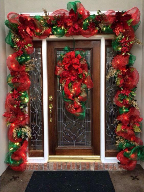 como decorar mi puerta en navidad con guirnaldas