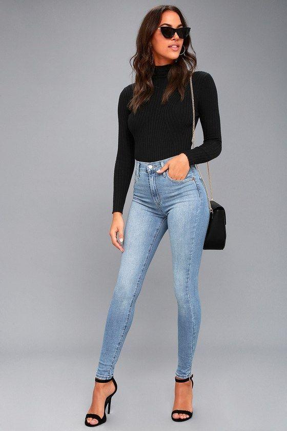 como disimular la panza con jeans altos