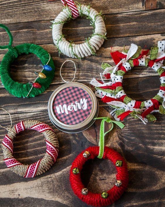 Diseños de coronas navideñas mini